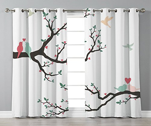 Thermal Insulated Blackout Grommet Window Curtains,Love Decor,Retro Love Birds on the Tree Branch Serenade Nostalgic Partners Ceremony Decorative,Green Pink Brown,2 Panel Set Window Drapes,for Living
