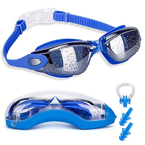 Swim Goggles with Nose Clip + Ear Plugs + Case, Clear No Leaking Anti Fog UV Protection Triathlon Swimming Glasses for Adult Men Women Youth Kids - Pool Glasses For
