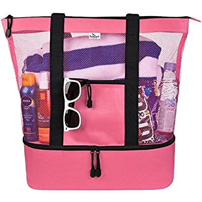 Mesh Beach Tote Bag for Women w Insulated Picnic Cooler and Zipper Top - Large