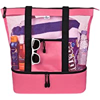 Husky Mesh Beach Tote Bag for Women w Insulated Picnic Cooler and Top Zipper (Large)