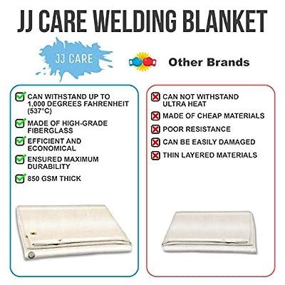 [PREMIUM] 4x6 ft Heavy Duty Welding Blanket [850GSM Thick] Fiberglass, Fire Retardant Welding Curtain, Weld Blanket, Welding Shield, Fire Blanket - JJ CARE