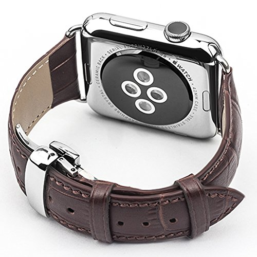 QIALINO Smart Watch Replacement Band for 42mm Apple iWatch Series 2 Series 1, Genuine Leather iWatch / iWatch2 Strap with Metal Clasp (Dark (Watch Chrome Leather Band)