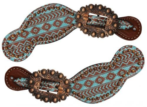 Showman Ladies Size Leather Spur Straps with Teal and Brown Navajo Diamond Print ()
