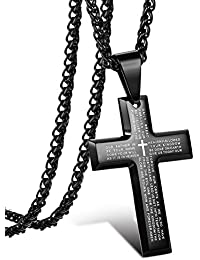 Jstyle Jewelry Men's Stainless Steel Simple Black Cross...