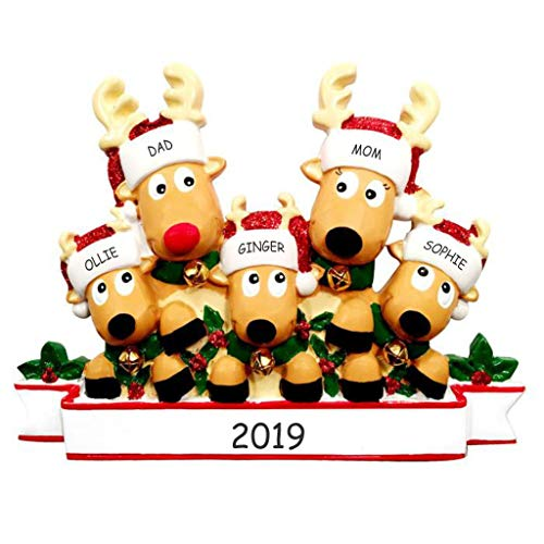 (DIBSIES Personalization Station Personalized Cozy Reindeer Family Christmas Ornament (Reindeer Family of 5))