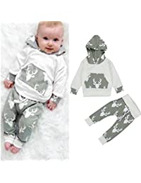 FEITONG 2Pcs Toddler Kids Baby Boys Clothes Deer Hooded...