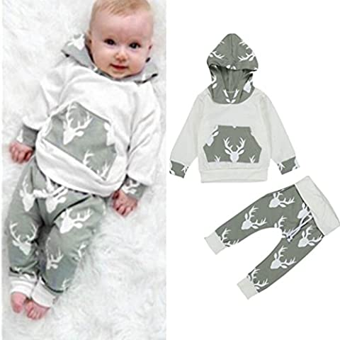 FEITONG 2Pcs Toddler Kids Baby Boys Clothes Deer Hooded Tops Jacket+ Pants Outfits Set (12 Months)