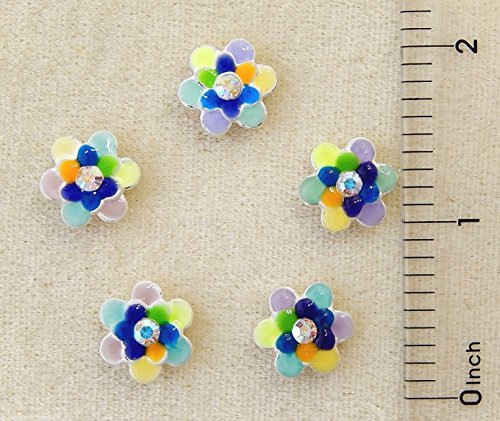 2 Slider Crystal Hole - 5 Assorted Color Enamel AB Crystal Slide Slider 2 Hole Spacer Rhinestone Beads