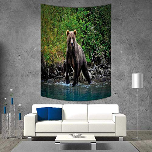 Anhuthree Cabin Decor Customed Widened Tapestry Grizzly, used for sale  Delivered anywhere in Canada