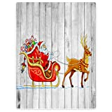 HommomH 40'' x 50'' Blanket Comfort Cozy Soft Warm Throw One Sides Bidding Merry Christmas Santa Claus Deer Wood