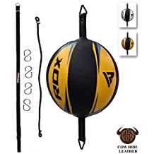 RDX Leather Boxing Speed Bag MMA Double End Dodge Ball Punching Training Floor to Ceiling Rope Workout