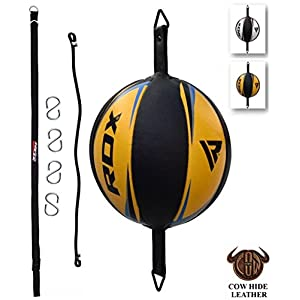 RDX Double End Speed Ball Leather Boxing Double End Speed Ball Bag MMA Double End Dodge Ball Punching Training Floor to Ceiling Rope Workout 5