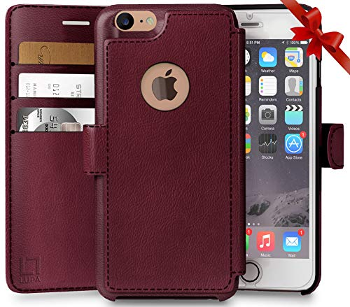 iPhone 8 Wallet Case, Durable and Slim, Lightweight with Classic Design & Ultra-Strong Magnetic Closure, Faux Leather, Burgundy, Apple 8 (2017)