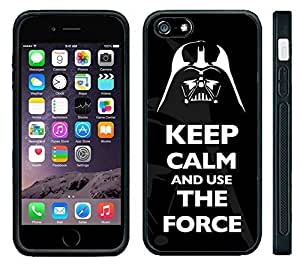 "Apple iPhone 6 PLUS 5.5"" Screen Black Rubber Silicone Case - Keep Calm and Use the Force Darth Vader"