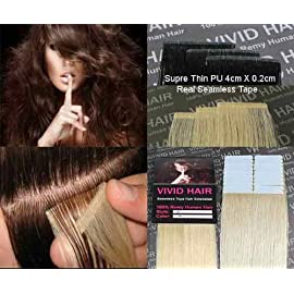 20pcs 22″ Inches Tape In Remy Seamless Super Thin Skin Weft PU Straight Human Hair Extensions Lightest Blonde #11