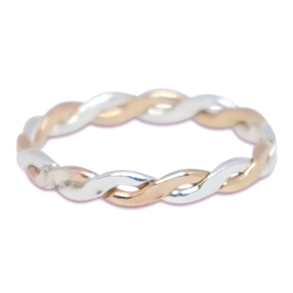 Thumb Ring | Twine Medley .925 Sterling Silver & Gold Filled Ring | Attire for Your Fingers | Made in USA Toe Rings And Things