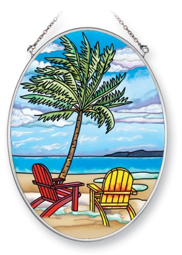 Amia 5375 Suncatcher Featuring a Beach and Palm Tree Design, Hand Painted Glass, 7-Inch by 5-1/4-Inch Oval