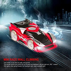 LESHP Climbing Car Wall Floor Climber Remote Control RC Wall Climbing Climber Rocket Toy Car Racer Kid Toy Electric Toy RC Vehicle Stunt Car (RED)