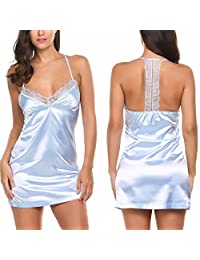 Avidlove Luxury Lace Satin Nightgown Strap Sexy Pajama Dress For Women
