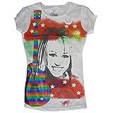 Disney Little Girls White Red Hanna Montana Rainbow Guitare Print T-shirt 7-16