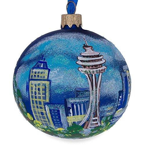 - BestPysanky Seattle, Washington Glass Ball Christmas Ornament 3.25 Inches