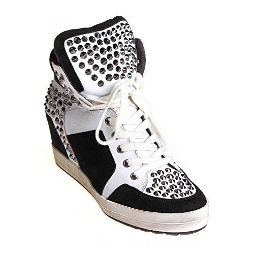 Kennel & Schmenger Damen Sneaker High Top Leder Weiß Schwarz mit Keilabsatz Used Look