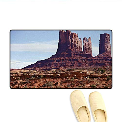 Bath Mat,Famous Monumental Valley Grand Canyon and Red Rocky Cliffs USA Arizona Photo Print,Door Mat Indoors Bathroom Mats Non Slip,Brown,Size:16