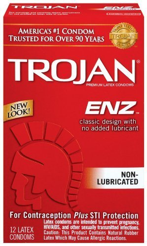 Add your own condom-compatible lubricant - Trojan Enz Non-lubricated Condoms, 12 Count (Pack of 2)