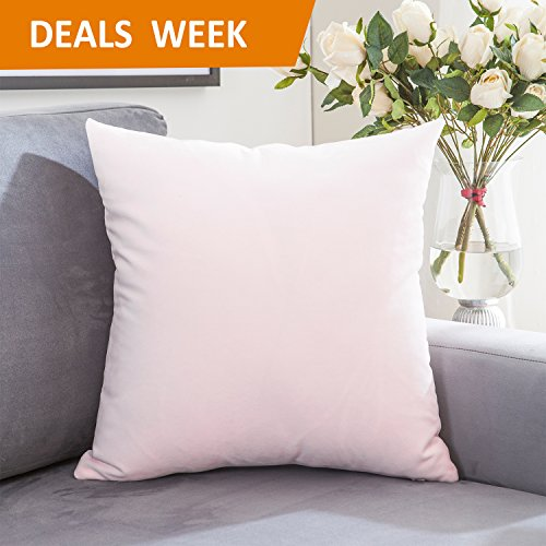 Home Brilliant Short Plush Decorative Square Throw Pillow Case Cover Cushion Cover for Teen Girls, Ultra Soft, 18 x 18, Baby Pink