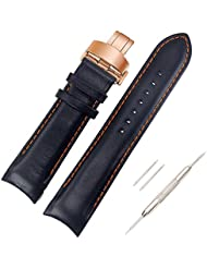 ViuiDueTure 22 23 24mm Replacement watch strap for Men Women, Black Calf Genuine Leather Watch Band Steel Butterfly...