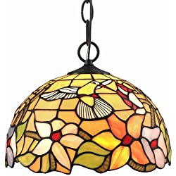 Amora Lighting AM1082HL12 Tiffany Style Hummingbird 1-light Pendant Lamp