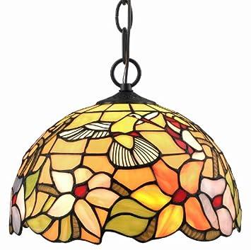 Amora Lighting AM1082HL12 Tiffany Style Hummingbird 1 Light Pendant Lamp