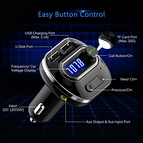 VicTsing (Upgraded Version) V4.1 Bluetooth FM Transmitter for Car, Wireless Radio Transmitter Adapter with Music Player Support Aux Output Input, TF Card and U-Disk, Hands Free and Dual USB Ports by VicTsing (Image #7)