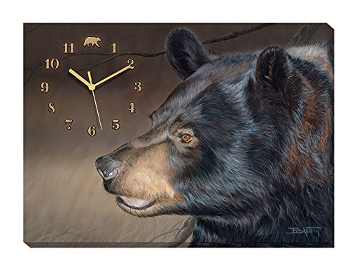 Troubles Bruin - Black Bear Canvas Clock by Larry Beckstein -