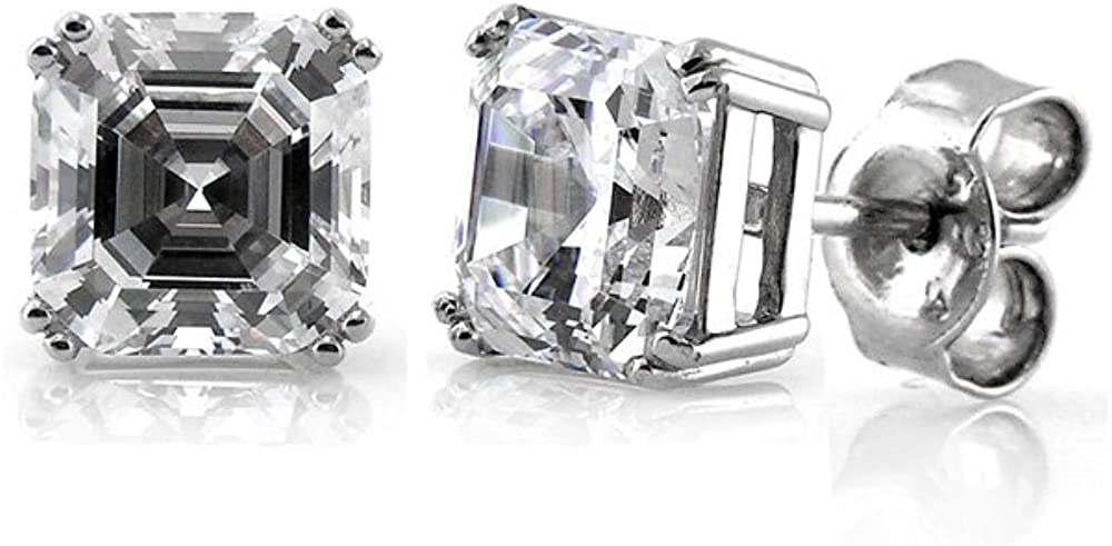 BERRICLE Rhodium Plated Sterling Silver Asscher Cut Cubic Zirconia CZ Solitaire Anniversary Wedding Stud Earrings 6mm 2.48 CTW
