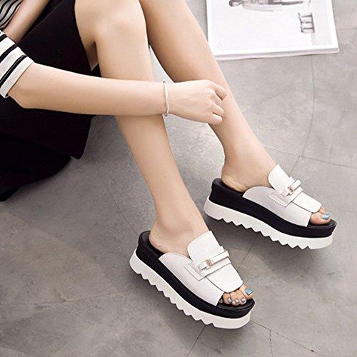 zapatillas Cómodo opcional opcionales Blanco agua exterior Zapatillas de tamaño de Zapatillas Co 2 al verano tacón colores de de moda Zapatillas con gruesas Pendiente resistente tacón alto de Aumentado RRw4qgfr