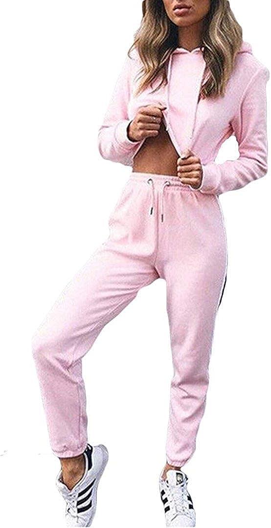 Loalirando Completo Sportivo Donna Tuta da Ginnastica 2 Pezzi Felpa con Cappuccio Corto Pantaloni a Vita Alta Sportwear per Yoga Corso Palestra Jogging Fitness