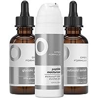 Open Formula Anti-aging Super Set. Glycolic Acid Peel + Retinoid Serum + Collagen Peptide Moisturizer. For Dark Spots…