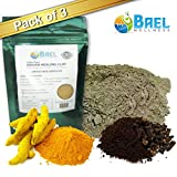 Bentonite Clay with Turmeric & Cloves Powder (Pack of 3). Indian Healing Clay, Fullers Earth Powder for Facial Mask, Hair, Bath & Spa