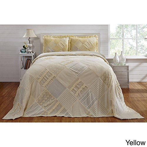 1pc 110 X 102 French Oversized Yellow Chenille Bedspread Queen Floor Bedding, Cotton, Extra Long Wide Vintage Retro Ruffled Patchwork Trellis Weaves, Hangs Over Edge Drops Down Sides by un