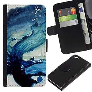 KingStore / Leather Etui en cuir / Apple Iphone 6 / Peinture Sea Wave Blue Ocean Art