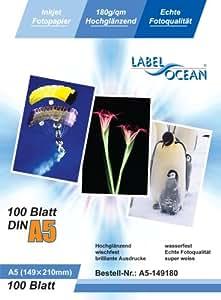 LabelOcean Premium Papel Fotografico 100 Folios A5 180g/qm Brillante Impermeable