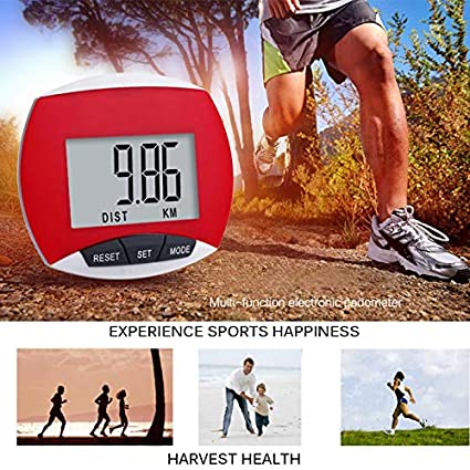 Black SmartHitech 3D Pedometer Simple Step Counter with Clip,Multi-Function Pedometer LCD Screen Display for Outdoor Walking Jogging Running Hiking Distance Fitness