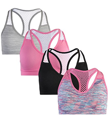 'dELiAs dELiAs Girls\' Seamless Sports Performance Bra With Removable Pads, 4 Pack, Grey/Black/Pink/Blue, (7' Cloth Pad)
