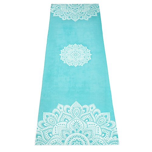The Mandala Turquoise Hot Yoga Towel. Eco-Friendly, Mat-Sized, Lightweight, Insanely Absorbent, Non-Slip, Microfiber Yoga Towel, Dries in Minutes.