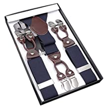 Panegy Men's Vintage Formal Suspenders with 6 Strong Clips Clip On Y Shape Wide Leather Braces Blue