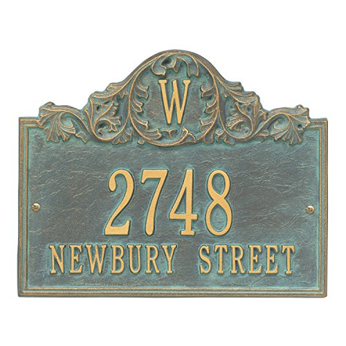 "Customized Acanthus Monogram Address Plaque 11""H x 14""W (3 (Address Plaque Three Line)"