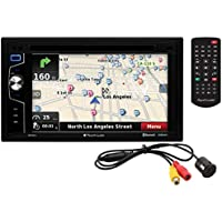 Planet Audio PNV9674RC Double Din, Touchscreen, Bluetooth, Navigation, DVD/CD/MP3/USB/SD AM/FM Car Stereo, 6.2 Inch Digital LCD Monitor, Wireless Remote, Rearview Flush Mount Camera Included