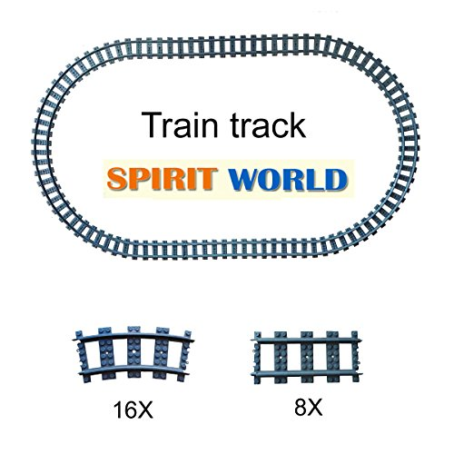 (24X Train Tracks Non-Powered City Railroad Compatible Major Brands Building Block Toy Gifts)