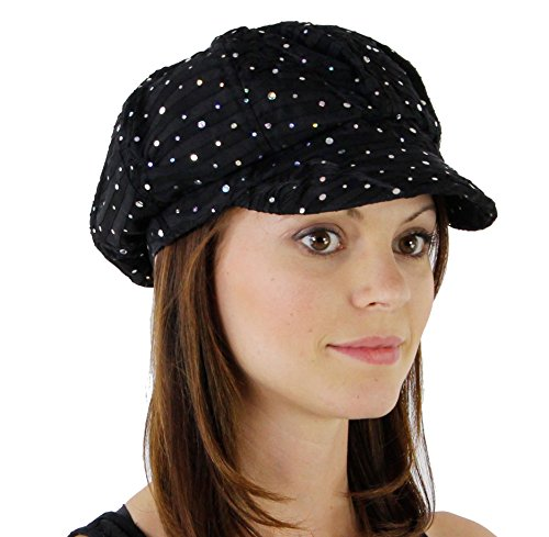 Glitter Sequin Trim Newsboy Style Relaxed Fit Cap ,Black ,One Size